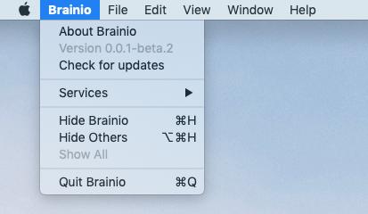 Brainio automatic update menu