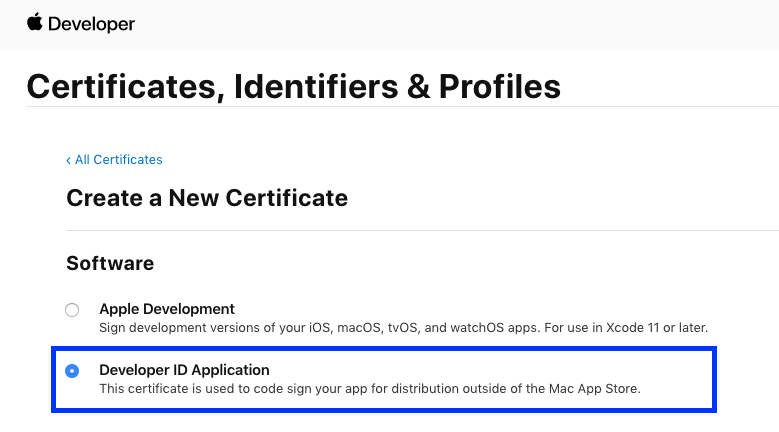 Creating a Developer ID Application certificate
